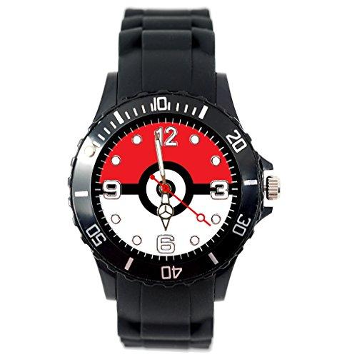 Reloj de cuarzo con correa de silicona negra para fans de Pocket Monsters