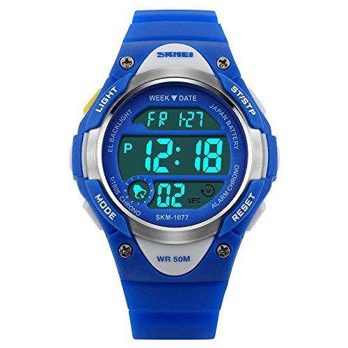 Reloj para Niños Niño Niña Resistente al agua Digital Militares Impermeabl Deportivos Especiales al Aire Libre LED Despertador Multifuncionales (Azul)