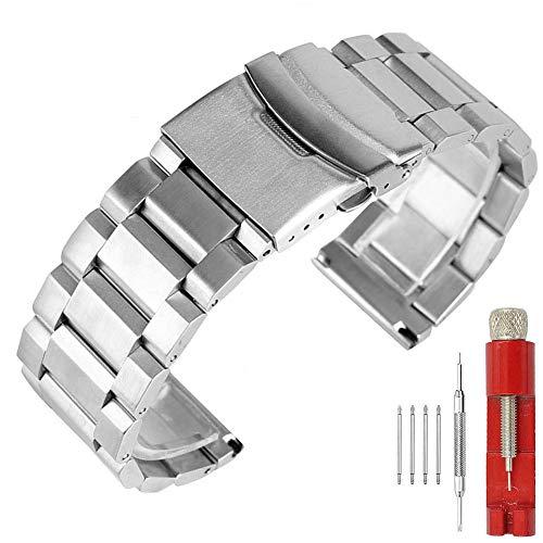 Kai Tian Correa de reloj de pulsera de acero inoxidable para hombre Cierre de despliegue de servicio Acabado mate Bandas de reloj para niños Reemplazo de 22mm Pulsera de reloj deportivo plateado