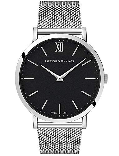 Larsson & Jennings LJXII Lugano Unisex Hombres & Mujer Relojes with 40mm Black dial and Silver Stainless Steel Strap LX40-MSV-SB.