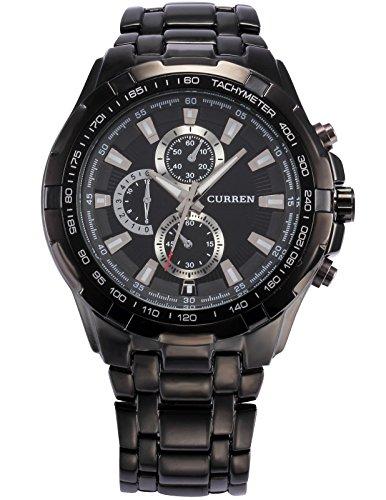 EASTPOLE CUR007 - Reloj Hombre de Cuarzo, Correa de Acero Inoxidable Negro