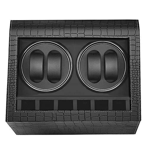 HBselect Caja Relojes Automaticos Silencioso Cajas Giratorias para Relojes (para 4+ 6 Relojes) Negro Clásico Caja De Relojes Mecánicos Caja Bobinadora