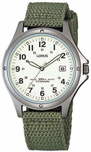 Lorus RXD425L8 - Reloj analógico de caballero de cuarzo con correa textil verde - sumergible a 100 metros