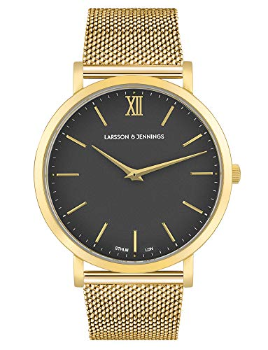 Larsson & Jennings Lugano Unisex Hombres & Mujer Relojes with 40mm Black dial and Gold Stainless Steep Strap LX40-MGD-GB.