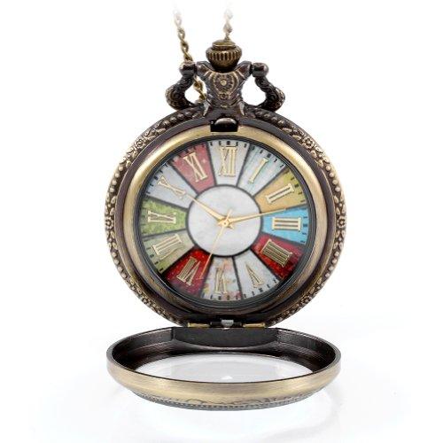 JewelryWe Reloj de bolsillo estilo retro rueda Roma Steampunk reloj de bolsillo parr mujer, colgante cadena de 78cm,Regalos para Navidad