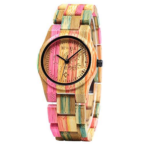 BEWELL Relojes Madera Mujer Analógico Cuarzo Japonés con Correa de Bambu Redondo Casual Relojes de Pulsera (Multicolor 2)