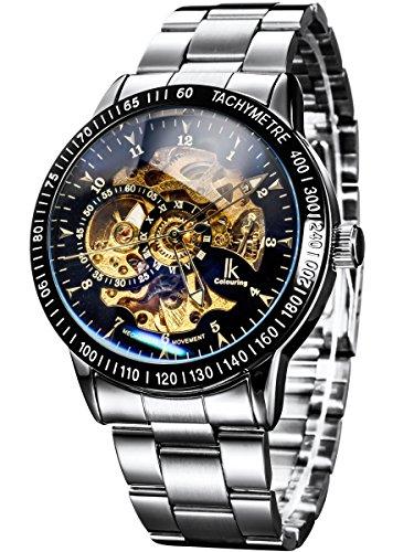 Alienwork IK Reloj Automático Hombre Mujer Plateado Pulsera de Metal Acero Negro Esqueleto