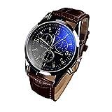 Chianrliu de hombre de moda de lujo Blue Ray de cristal cuarzo analógico marrón reloj