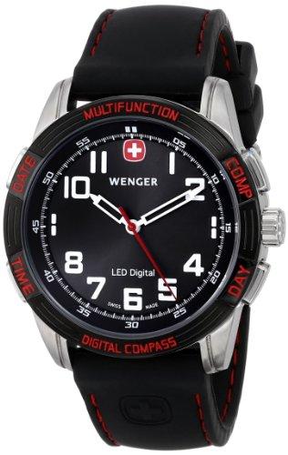 Wenger 70430 - Reloj de Caballero de Cuarzo, Correa de Goma Color Negro
