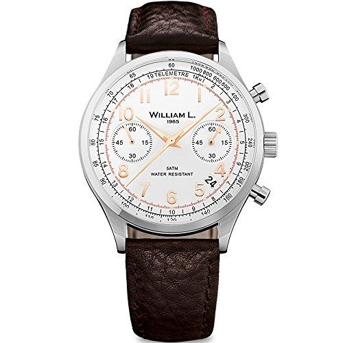 William L. Reloj Cronógrafo para para Hombre de Cuarzo con Correa en Cuero WLAC01BCORBM