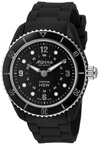 Alpina de la Mujer 'Comtesse de Fitness de Goma y de Acero Inoxidable Reloj de Cuarzo Suizo, Color: Negro (Modelo: al-281bs3V6)