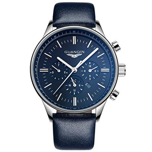 GUANQIN Reloj de pulsera analógico de cuarzo para hombre, resistente al agua, luminoso, fase lunar, color plateado y azul