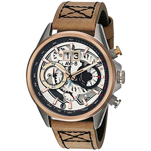AVI-8 Reloj de Hombre Cuarzo 44mm Correa de Cuero Genuino AV-4065-02