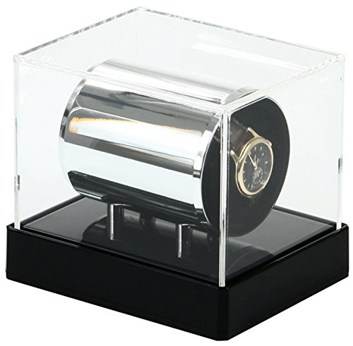 Temotus - Rotador de relojes de pulsera, automático, almohadilla adaptable, color negro acrílico