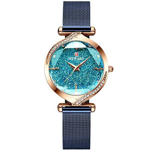 RORIOS Moda Mujer Reloj Rhinestones Relojes para Mujer Acero Inoxidable Pulsera Impermeable Elegante Señoras Reloj Vestir Reloj de Cuarzo