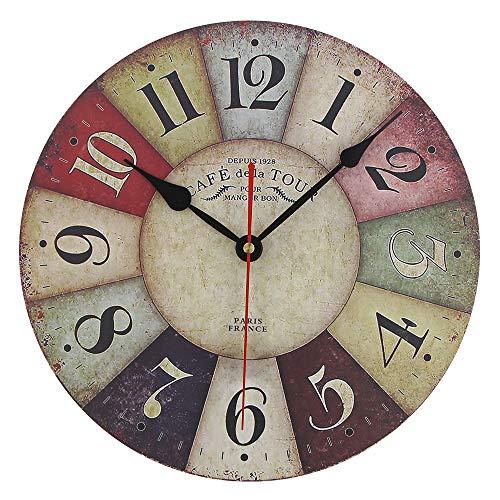 Timelike Reloj de pared de madera MDF vintage rústico rústico rústico redondo reloj decorativo estilo retro de pared de cuarzo (30,5 cm, colorido)