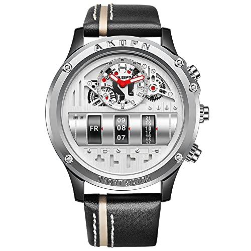 RORIOS Moda Hombre Relojes Cuarzo analógico Reloj Acero Inoxidable Relojes de Pulsera Impermeable Negocios Reloj para Hombre