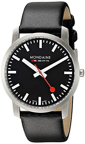 Mondaine SBB Simply Elegant 41mm A638.30350.14SBB Reloj de pulsera Cuarzo Hombre correa de Cuero Negro