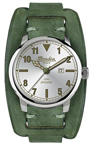 Mondia Italy 1946 Aviator Reloj para Hombre Analógico de Cuarzo japonés con Brazalete de Piel de Vaca MI749-1CP