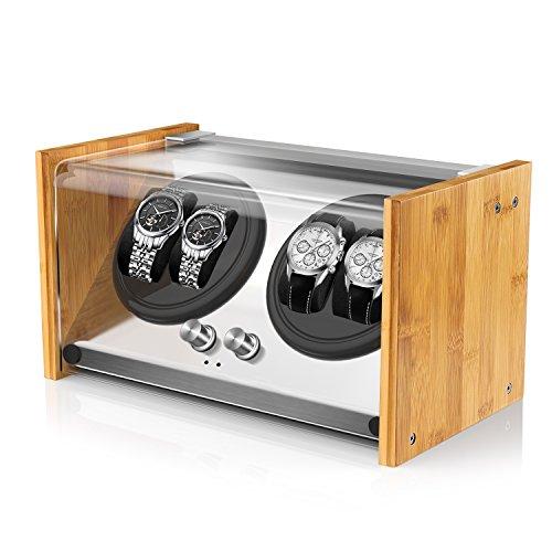 Watch Winder Smith Caja para Relojes 4 Relojes Pareja tamaño,artesanía Patente 100% de Madera de bambú Cajas giratorias para Relojes,AC o Motor japonés súper Tranquilo con batería