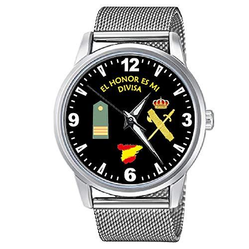 CASIO® Reloj Guardia Civil Sumergible con Rango Sargento y Correa de Malla de Acero