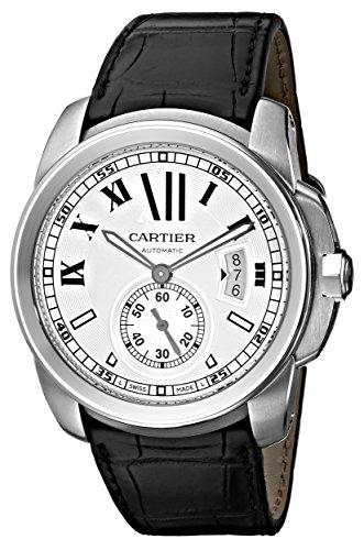 Cartier Calibre - Reloj (Reloj de Pulsera, Masculino, Acero Inoxidable, Acero Inoxidable, Cuero, Negro)