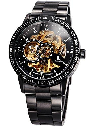 Alienwork IK Reloj Mecánico Automático Relojes Automáticos Hombre Mujer Acero Inoxidable Negro Analógicos
