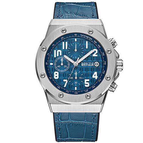 BAOGELA Relojes para Hombre Plata, Reloj Grandes Esfera, Relojes Deportivo Cuero Azul con Calendario Reloj de Pulsera de Cuarzo para Hombres, Resistente al Agua, Luminoso