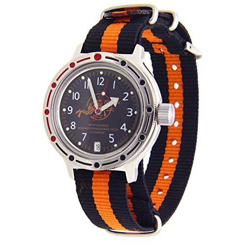 Vostok Amphibian #420380 Reloj Automático Diver 200WR NATO (negro-naranja-3)