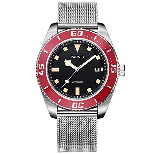 Parnis - Reloj de Pulsera para Hombre, Deportivo, clásico, Luminoso, Calendario único, automático, mecánico