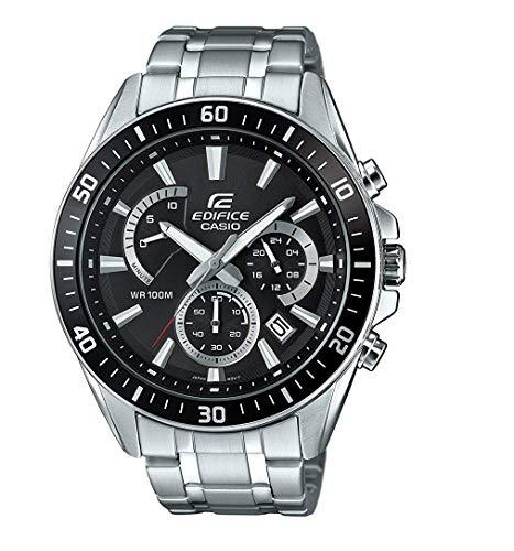 Casio EDIFICE Reloj en caja sólida, 10 BAR, Negro, para Hombre, con Correa de Acero inoxidable, EFR-552D-1AVUEF