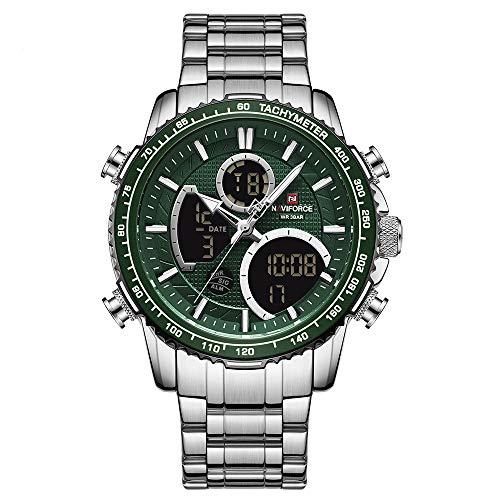 NAVIFORCE Reloj Digital Analógico para Hombre Cronógrafo Relojes Deportivos de Cuarzo a Prueba de Agua Moda de Negocios Reloj de Pulsera Multifuncional Militar de Acero Inoxidable