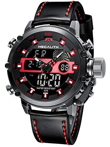 MEGALITH Relojes Hombre Digitales Militar Relojes Grandes LED Reloj de Pulsera Analogico Digital Deportivo Relojes de Hombre Cuero Impermeable Electrónico Cronometro Calendario - Negro Rojo