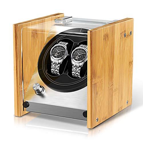 Watch Winder Smith Caja para Relojes 2 Relojes Pareja tamaño,artesanía Patente 100% de Madera de bambú Cajas giratorias para Relojes,AC o Motor japonés súper Tranquilo con batería