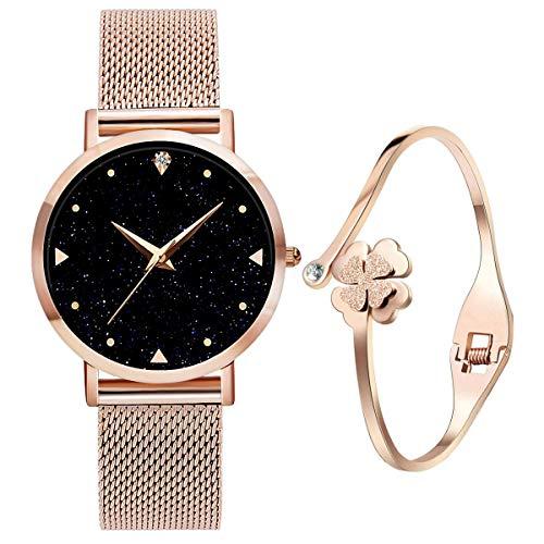 Relojes de Cuarzo analógicos para mujer niña de Agua 3ATM con Correa de Malla de Acero Inoxidable en Oro Rosa, Reloj de Pulsera con Elegante Esfera Azul y Cielo Estrellado