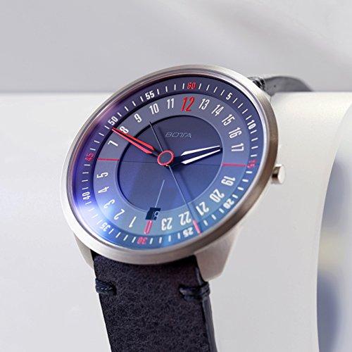 Botta de diseño de Tres 24Titanio Negro Cuarzo Reloj de Pulsera–24H Reloj de Pulsera, Acero Inoxidable, Cristal de Zafiro antirreflejos, Correa de Piel