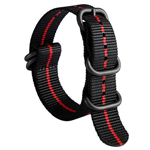 Nylon Correa de Reloj de Nailon Zulu Military Grueso G10 Premium Ballistic Multicolor Bandas para Hombres Mujeres 18 mm 20 mm 22 mm 24 mm con Hebilla de Acero Inoxidable Plateado/Negro