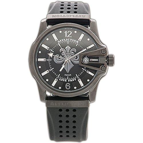 Affliction Hombre Grande Redondo Reloj Negro/Negro