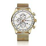 Curren 8227- Reloj de pulsera de hombre, reloj de lujo analógico, resistente al agua, cuarzo, acero inoxidable, color negro