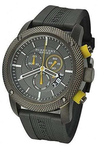Venta. Auténtico Burberry Deporte lujo hombres Unisex mujeres 44mm redondo reloj cronógrafo negro banda de silicona/goma gris FECHA Dial BU7713