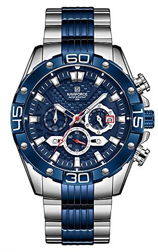 NAVIFORCE Reloj de pulsera de cuarzo analógico para hombre de acero inoxidable con cronógrafo luminoso, Azul / Patchwork,