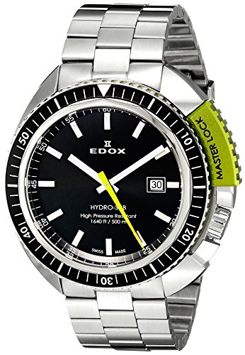 EDOX 53200 3NVM NIN - Reloj para Hombres, Correa de Acero Inoxidable