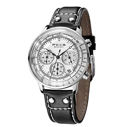 FEICE Reloj de Pulsera de Cuarzo Japonés Reloj Cronógrafo Reloj Ultrafino y Ligero Relojes Casuales para Hombres con Correa de Piel Ø41 mm FS303