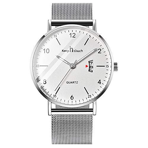 Unendlich U-Reloj de Cuarzo Ultrafino para Hombre Mujer Moda Relojes de Pulsera Casual Impermeable Reloj con Fecha de Acero Inoxidable