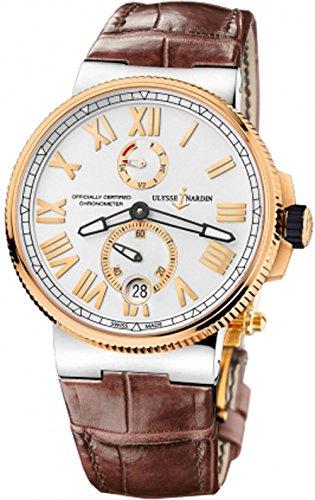 Ulysse Nardin Marine cronómetro esfera plateada reloj para hombre de cuero marrón 1185-122-41