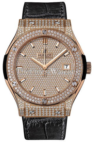 Hublot Classic Fusion King Gold Full Pave 511.OX.9010.LR.1704 - Flauta (45 mm)