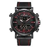 Naviforce Reloj de Pulsera de Cuarzo Analógico con Correa de Piel para Hombre (Negro Rojo)