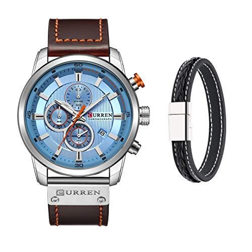 CURREN Reloj de pulsera de cuarzo analógico clásico para hombre con correa de cuero y cronógrafo, azul, Correa