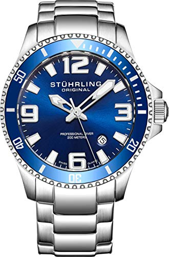 Stuhrling Original Regatta Champion Men's Quartz Watch with Blue Dial Analogue Display and Silver Stainless Steel Bracelet 395. 33U16