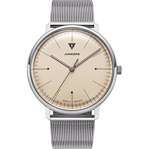 Junkers Bauhaus - Reloj de pulsera analógico de cuarzo para hombre, 40 mm, beige y plateado., 40 mm, Junkers Bauhaus